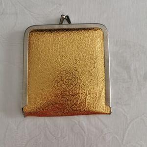 Vintage 60s Gold Foil Mirror Compact
